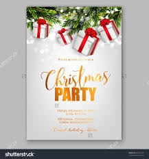 merry christmas party invitation and happy new year party merry christmas party invitation and happy new year party invitation card christmas party poster holiday design template christmas decoration fir tree