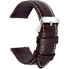 Fullmosa Quick Release <b>Leather Watch Band</b> Bamboo <b>Genuine</b> ...