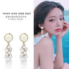 Retro <b>round</b> amphibole earrings pearl grape <b>S925 silver needle</b> ...