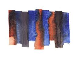 <b>Hand Painted Abstract</b> Watercolor Wet <b>Black</b>, Blue And Orange ...