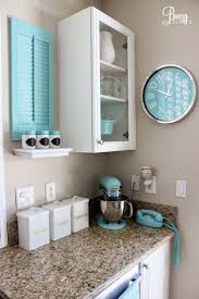 kitchen colors images: add depth to your granite counters with crisp white and bright blue decor with breezydesigns