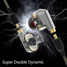 double dynamic in ear earphone stereo microphone noise reduction music earbuds game sport headset wired bass s7