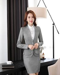online get cheap women career suits aliexpress com alibaba group novelty grey slim fashion formal professional women career suits jackets and skirt office ladies blazers
