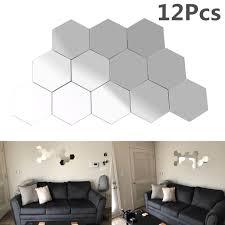 Yosoo Mirror Wall <b>Sticker</b>, 12Pcs Acrylic 3D <b>Geometric</b> Hexagon ...
