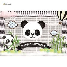 <b>Laeacco</b> Panda <b>Birthday</b> Party Bamboo <b>Cloud</b> Baby Poster Cartoon ...