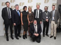 ef education anniversary bash attracts bill clinton other leaders members of the hult family former british prime minister gordon brown second from left