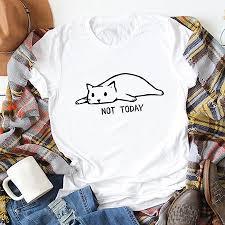 <b>Funny Women T</b>-<b>shirt</b> Not Today <b>Cartoon</b> Cat Letters Print Cotton ...