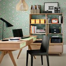 home office shelves ideas transparent wood storage unit and a cool wallpaper behind is a nice charming thoughtful home office