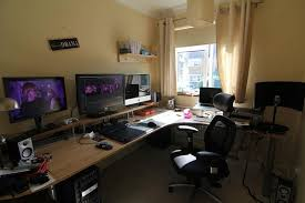 gaming desk desk setup and computer room decor on pinterest awesome home office setup ideas rooms