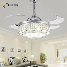 trazos 42 inch gold modern crystal ceiling fans with lights living room folding light fan lamp remote control