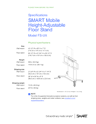 SMART Mobile <b>Height</b>-<b>Adjustable</b> Floor Stand Specifications