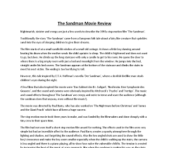 the sandman movie review   gcse media studies   marked by teacherscom document image preview