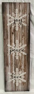 wood sign glass decor wooden kitchen wall: joy peace love wood sign or canvas wall hanging christmas farmhousewinter sign