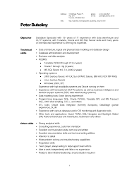 resume examples template example of warehouse resume with objective as database specialist and technical skills