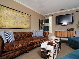 wall unit living room design ideas: living roomeclectic masculine living room design ideas using brown leather chesterfield sofa and standing