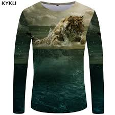 <b>KYKU Tiger</b> T shirt Men Long sleeve shirt Animal Rock Fish Tee ...