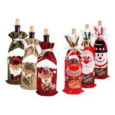 Kitchen, Dining & Bar Red <b>Wine</b> Bottle Cover Bags <b>Snowman Santa</b> ...