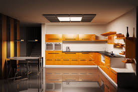 astounding orange l shape glass home interior kitchen cabinetry with black granite countertops ideas having single astounding home interior modern kitchen