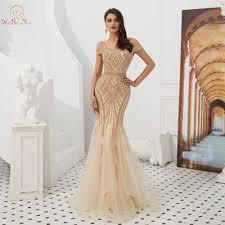 <b>Walk Beside You</b> Gold Prom Dresses <b>Mermaid</b> Sequined Long ...