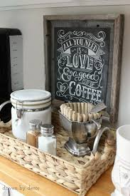 a simple diy home coffee station with chalkboard print art and a canister for coffee along attractive coffee bar home 4