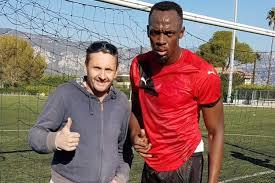 Usain Bolt joue au foot à Saint-Jean-Cap-Ferrat dans les Alpes-Maritimes
