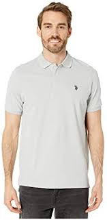 <b>U.S. POLO</b> ASSN. Solid Cotton Pique Polo with Small Pony Gray ...