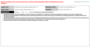 waste disposal dispatcher resumeradioactive waste disposal dispatcher resume
