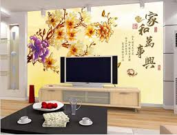 chinese style decor: can customized chinese style new plum blossom large d mural room wallpaper fabric wall decor waterproof