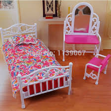 dollhouse princess mirror bed set furniture children baby toys girls birthday gift bedroom accessories for barbie bedroom furniture barbie ken
