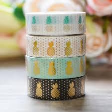 Decorative Paper <b>Washi Tape</b> Gold Foil <b>Pineapple</b> Papeleria <b>DIY</b> ...