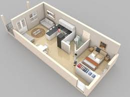 Creative One Bedroom House Plans that Promote Eco friendly Environment bedroom apartment design   living room