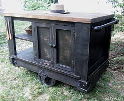 rustic kitchen island:  kitchen excellent distressed black modern rustic kitchen island cart with walnut stained picture of new in