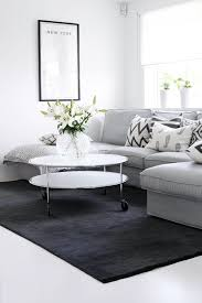 soft grey sofa and dark grey rug living room my white house black white rug home