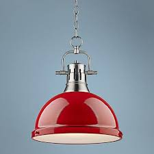 a frosted glass diffuser helps to eliminate glare from this contemporary red and pewter pendant light blown pendant lights lighting september 15