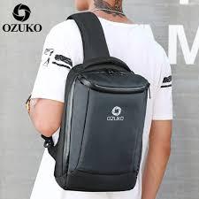 OZUKO New Fashion <b>Men Oxford Men's</b> Chest <b>Bags</b> USB Charging ...