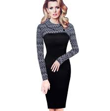 NICE FOREVER <b>Women Turn Down Collar</b> Fitted Button Pencil Dress