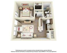 "One "" "" Bedroom Apartment House Plans   Bedroom Apartment    This is a cool example of a one bedroom  one bathroom floor plan for one of our apartment communities"