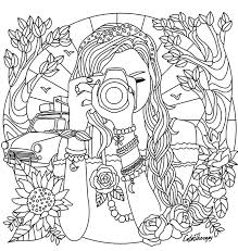 Small Picture Girl with a camera coloring page Coloring Pages for Adults
