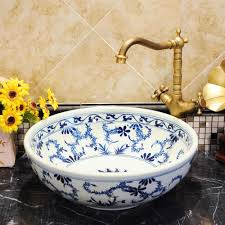 bathroom countertop basins wholesale: blue and white chinese antique ceramic sink wash basin ceramic counter top wash basin bathroom sinks