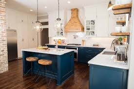 painted blue kitchen cabinets house: fixer upper craftsman blue kitchen cabinets