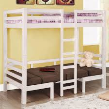 astounding lofted bed with brown sofa bed and bunkbed plus yellow wall also wooden floor for astounding modern loft bed