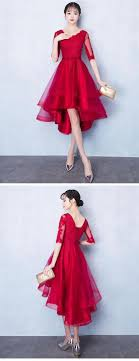 Red Half Sleeve High Low Homecoming Dresses <b>Lace Applique</b> ...