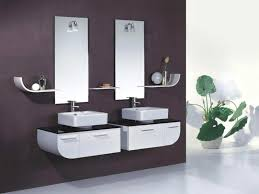 contemporary rectangle frameless bathroom wall mirror above white vessel futuristic small ideas highlighting lacquer wooden floating black gloss rectangle home office
