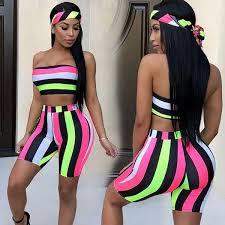 2019 Fashion <b>Women Sexy</b> Two Piece Set <b>Summer Casual</b> Striped ...