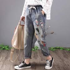 QPFJPD/летние свободные <b>джинсы</b> с дырками и вышивкой для ...