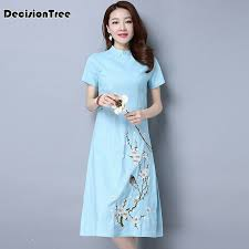 <b>2019</b> new print <b>chinese traditional dress cheongsam</b> women ...