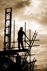 silhouette of construction worker on scaffold stock photo picture stock photo silhouette of construction worker on scaffold