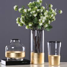 Европейская <b>стеклянная ваза для цветов</b> с золотой фольгой ...