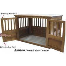 ashton wood dog crate french door details furniture style dog crates