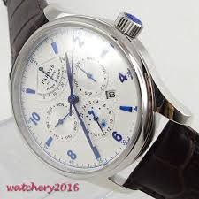 <b>42mm Parnis</b> white Dial PowerReserve Sapphire Glass Automatic ...